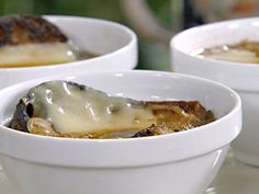Guinness and Onion Soup with Irish Cheddar Crouton recipe from Michael Chiarello via Food Network