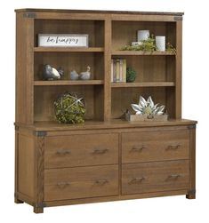 Amish Georgetown Double Lateral File Cabinet with Hutch Top Maximum storage in a solid wood bookcase and lateral file combo! The Georgetown wears metal accents that hint at industrial style. Built in choice of wood and stain. #officestorage #bookcases