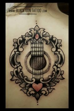 Tattoo by Black Sun Tattoo, Warsaw, Poland #dotworktattoo #dotwork #framestattoo #womenstattoo #guitartattoo #blacksuntattoo