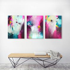Set of original XL abstract acrylic paintings, 3 parts large colorful work of fine art, triptych, fuchsia turquoise artwork on canvases