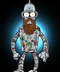 Robots - Coolest robot, tattooed and bearded just for you. Cartoon Network Adventure Time, Adventure Time Anime, Futurama Bender, Today Cartoon, Marvel, Geek Out, The Simpsons, Trends, Art Pictures