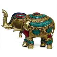 Decorated elephant, trunk up for good luck