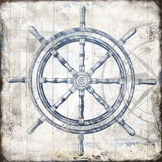 Jace Grey: Steering Wheel Wood Blocks Keilrahmen-Bild 50x50 Leinwand maritim