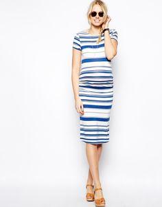 Gestreiftes Midi-Umstandskleid von ASOS MATERNITY, Umstandsmode: Die 11 schönsten Gründe, diesen Sommer Streifen zu tragen  #stripes #striped #dress #dresses #maternity #blue #white #schwangerschaft #umstandsmode #schwangerschaftsmode #umstandskleid  #schwangerschaftskleid #blau #weiß #Streifen #gestreift