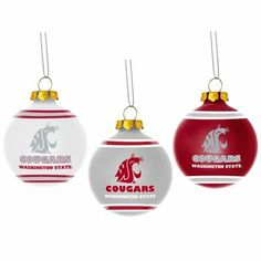Washington State Cougars Three-Pack Glass Ball Ornament Set Nutcracker Christmas, Ball Ornaments, Glass Ball, Washington State, Christmas Bulbs, Special Occasion, I Am Awesome, Nutcrackers, Holiday Decor