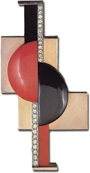 ART DECO,Gerard Sandoz brooch,coral,onyx and diamonds