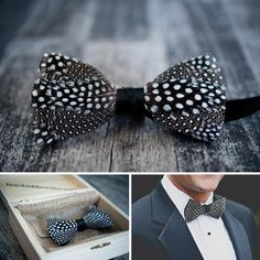 Charleston, SC-based BrackishBowTies crafts one-of-a-kind accessories from real feathers that have been hand-selected for their distinctive patterns. This black and white beauty is our idea of spot-on wedding style. #etsyweddings