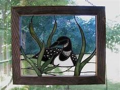 Common Loon Stained Glass Panel