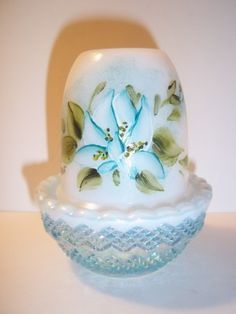 Mosser Aqua Blue Opal Carnival Milk Glass HP Water Lily Fairy Light Lamp | eBay