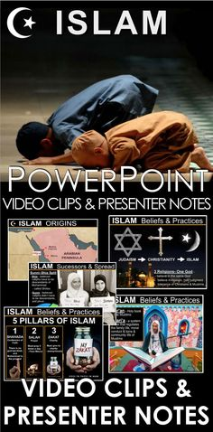 Islam PowerPoint with video clips and presenter notes is packed with maps, stunning visuals, and embedded video links, and presenter notes, everything you need to keep your students engaged while teaching Islam. This 15 slide PowerPoint takes students to the Arabian peninsula and the birth the prophet Muhammad. Students learn about the prophet's journey from merchant to the last prophet of God and the jihad that took place after his death. PowerPoint contains presenter notes that aid your... History Lesson Plans, World History Lessons, History Class, Teaching Social Studies, Student Learning, History Teachers, Teaching History, Islam Beliefs, World Religions