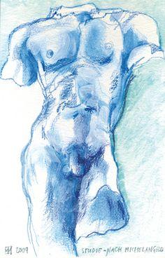 Studie nach Michelangelo/Aquarell ©Tobias Windlinger