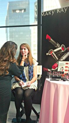 """Behind the Scenes at the new product launch for Mary Kay's True Dimensions lip color. Beauty editors came out from all over to experience the new product and provide their feedback. """"Awesome"""" is one word that was used to describe this fabuous new Multi Function lipstick!"""