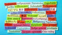 "The word ""welcome"" printed in different languages on strips of colored paper."