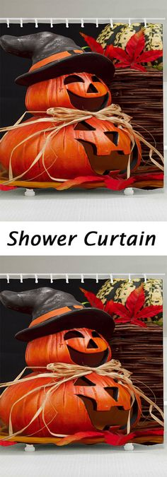 halloween decor ideas:Halloween Pumpkin Pattern Waterproof Shower Curtain