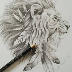 This tattoo design is an other way to represent my grandma, she was a warrior and I think a lion represents the fighter energy and the women shows a warrior Tattoo Designs, Lion Tattoo Design, Tattoo Design Drawings, Tattoo Sketches, Head Tattoos, Body Art Tattoos, Sleeve Tattoos, Tattoo Ink, Headdress Tattoo