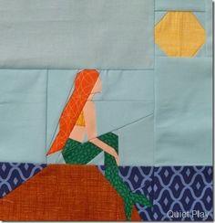 Paper Pieced Little Mermaid quilt block.  @Summer Perkins-Main