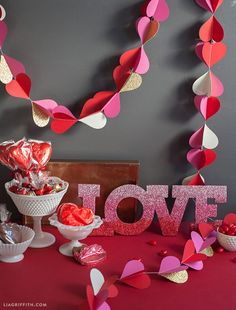 Valentine's Day hearts paper garland by Lia Griffith.