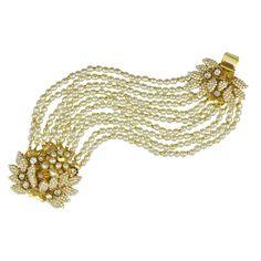 Miriam Haskell Ornate Crystal and Pearl Bracelet