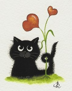 """Two Hearts"" black kitten Happy Black Cat"