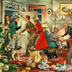 Wonderful post-war image shows guests arriving at a family Christmas gathering. Old Time Christmas, Old Fashioned Christmas, Christmas Scenes, Noel Christmas, Retro Christmas, Christmas Greetings, Winter Christmas, Family Christmas, Vintage Christmas Images