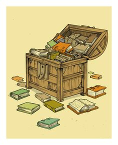 Nook Books & Old Books. Treasure chest of books I Love Books, Books To Read, My Books, Wiccan, Book Art, Reading Art, Book Posters, World Of Books, Illustrations