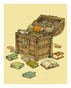 Nook Books & Old Books. Treasure chest of books I Love Books, Great Books, Books To Read, Book Art, Book Posters, World Of Books, Book Nooks, Treasure Chest, Love Reading