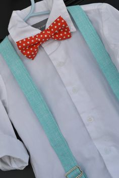 Easter Coral Polka Dot Bowtie & Aqua Turquoise Suspender Set - Baby / Toddler / Child