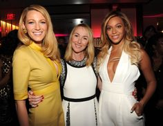 Frida Giannini, Beyoncé and Blake Lively at the Chime For Change One-Year Anniversary event in New York.