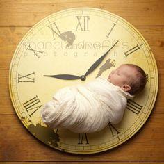 Newborn picture keepsake, set clock to time of birth.