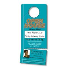 Open House Door Hanger  Real Estate Ideas    House