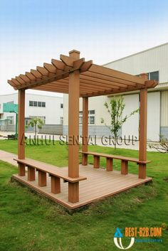 Pergola with a bench. Nice idea. Maybe nicer than a low wall?