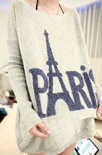 Tower Long Loose Round Neck Sweater of pairs i want this sweater, I love oversised sweaters, I have one that has paris tower and minnie mouse on it.