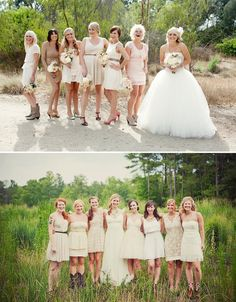 I LOVE the mis-matched bridesmaid dress look! My girls will all be wearing boots though Mismatched Bridesmaid Dresses, Wedding Bridesmaids, Wedding Dresses, Bridesmaid Ideas, Wedding Trends, Wedding Styles, Wedding Ideas, Wedding Planning, Wedding Fun