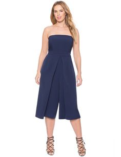 Pleated Strapless Jumpsuit | Women's Plus Size Dresses | ELOQUII