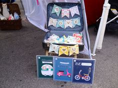 Personalize Letter banners throw in a vintage suitcase. #curlywillowco #indieanahandicraftexchange2014
