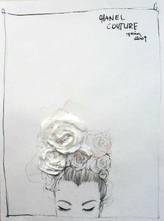 Valerie Santillo, Paper Rose Chanel Spring 2009 Couture Fashion Illustration