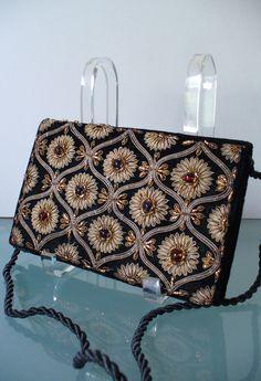 Vintage Zardozi Embroidery Velvet Clutch Bag by TheOldBagOnline on Etsy