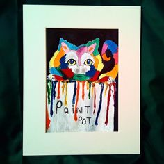 Painting Animal Art Cat Whimsicle Colourful Homeware Decoration  £30.00