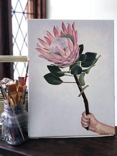 A Homage to Home - Oil Painting 'A Homage to Home' - Oil on Canvas. This oil painting was commission Oil On Canvas, Canvas Art, King Protea, Protea Flower, Flower Art, Art Flowers, Australian Artists, Bunting, Ethereal
