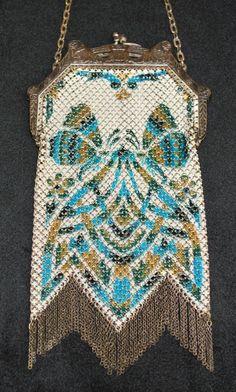 Mandalian Stylized Butterfly Enamel Mesh Purse