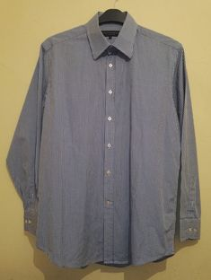 """Gieves & Hawkes Mens White Blue Fine Gingham Check Shirt Size 16"""" 41cm"""