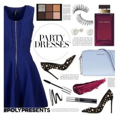 """""""#PolyPresents: Party Dresses - Midnight Blue"""" by arrow1067 ❤ liked on Polyvore featuring Marciano, Dune Black, Michael Kors, By Terry, Dolce&Gabbana, Christian Dior, Trish McEvoy and Huda Beauty"""
