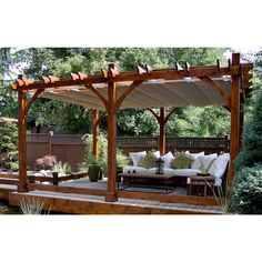 The pergola kits are the easiest and quickest way to build a garden pergola. There are lots of do it yourself pergola kits available to you so that anyone could easily put them together to construct a new structure at their backyard. Diy Pergola, Retractable Pergola, Building A Pergola, Pergola Canopy, Pergola Swing, Deck With Pergola, Cheap Pergola, Wooden Pergola, Outdoor Pergola