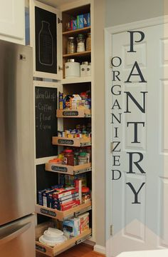 Ideas for kitchen pantry cabinet organization pull out shelves Kitchen Pantry Cabinets, Kitchen Organization Pantry, Diy Cabinets, Kitchen Storage, Organization Ideas, Pantry Ideas, Pantry Diy, Kitchen Ideas, Organized Pantry
