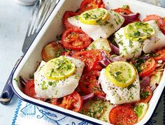 Photograph of the healthy Mediterranean roasted cod recipe