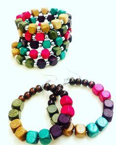 Square Wooden Multi Colored Bead 2 Piece Set  Memory Wire