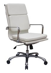 The high back white leather Hendrix series chair by Woodstock Marketing is perfect for executive office use and designer conference rooms. #White #Leather #Hendrix