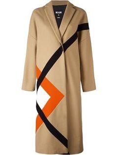 пальто миди с геометрическим узором