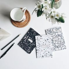 Terrazzo notebooks from Form Maker - Decoist Form Maker, Terrazzo Flooring, Textiles, Rustic Elegance, Hanging Art, Coastal Style, Lamp Bases, Minimalist Home, Furniture Collection