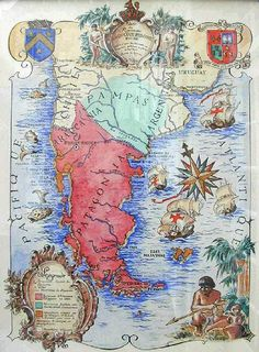 At the partitions of Tourtoirac Abbey in southern France hangs a map that portrays an excessively other imaginative and prescient of Latin American historical Patagonia, Bristol, Old Maps, Vintage Maps, Historical Maps, Old World, History, Illustration, Artwork